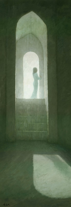 Spiritually symbolic stairway painting by Stephen Mitchell