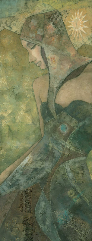 Contemporary art nouveau female figure painting by Stephen Mitchell in gold green colours
