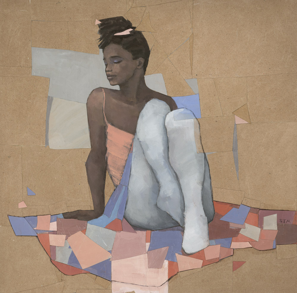 Black ballerina collage painting by Stephen Mitchell