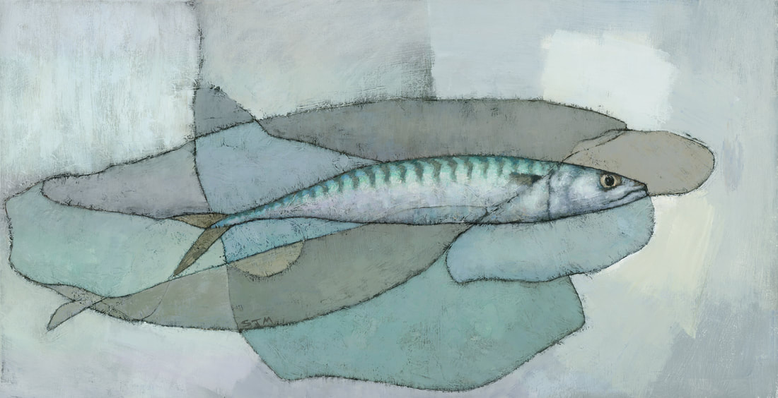 Cornish Mackerel muted abstract fish painting by Steve Mitchell
