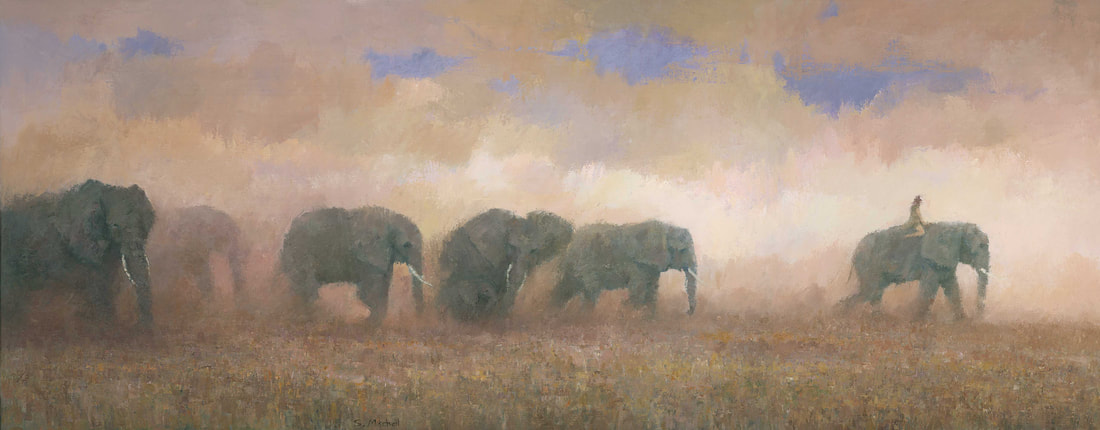 Dramatic panoramic elephant herd painting by artist Stephen Mitchell