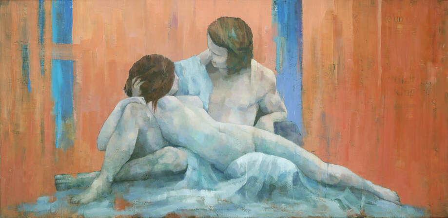 Male and female lovers nude couple painting by Stephen Mitchell in coral red and blue