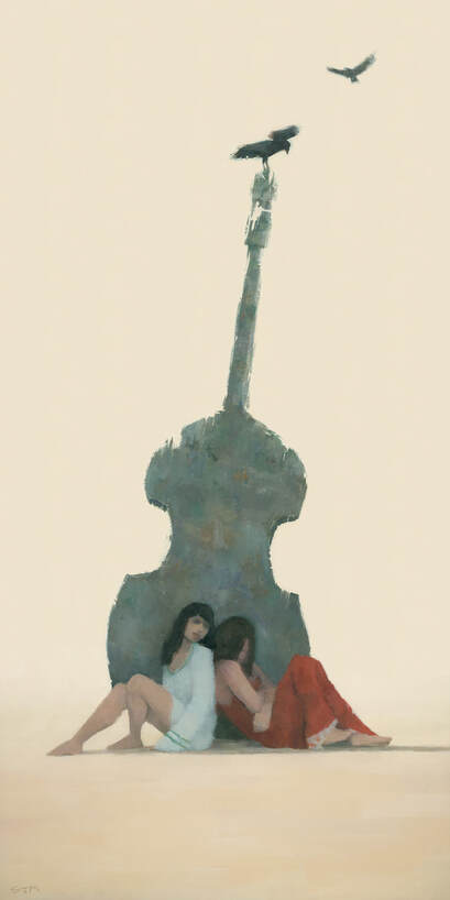 Painting of 2 women beneath an eroding statue of a double bass, by Stephen Mitchell.