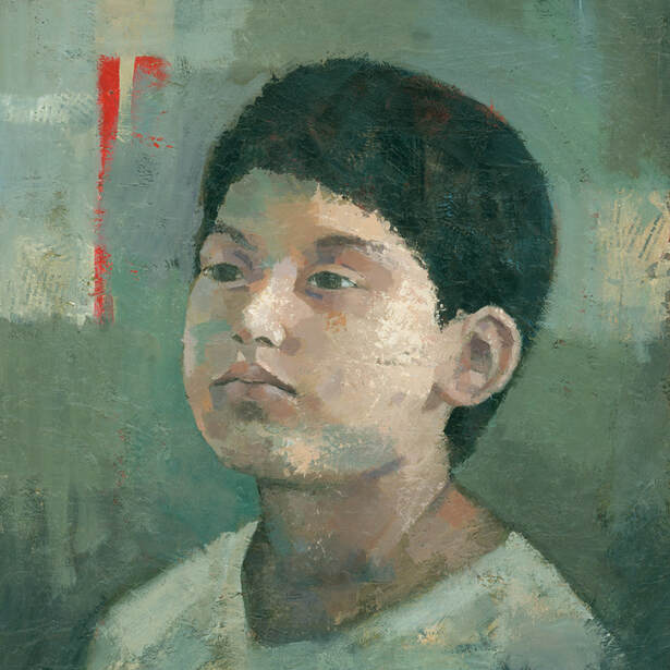 Contemporary expressive portrait painting of an east asian boy, by Stephen Mitchell.