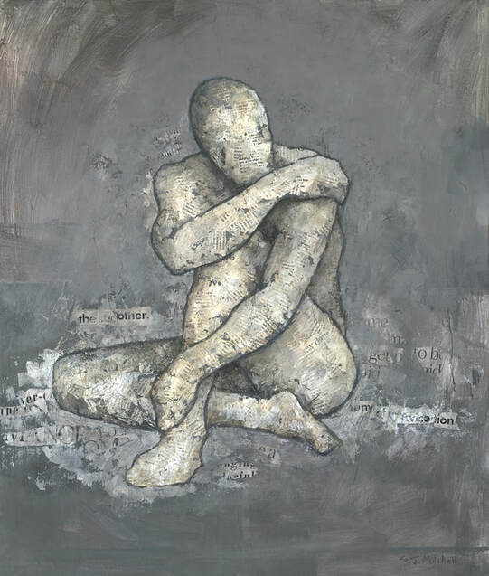 Modern mixed media male nude figure painting by Stephen Mitchell.
