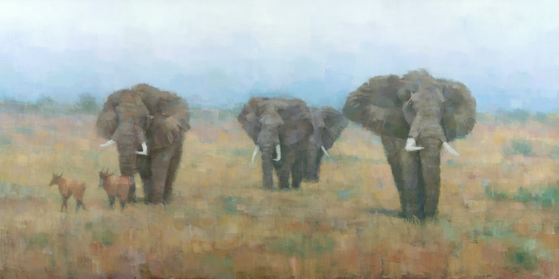 Contemporary impressionist elephant painting by wildlife artist Stephen Mitchell