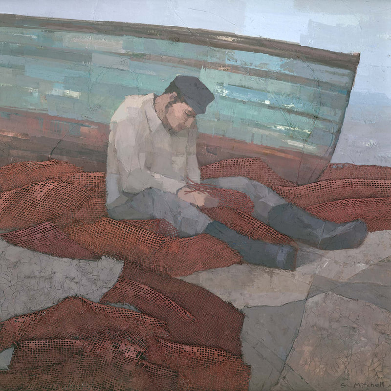 Fisherman fixing nets mixed media collage painting by Stephen Mitchell