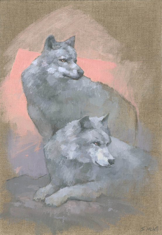 Contemporary wolf painting by artist Stephen Mitchell