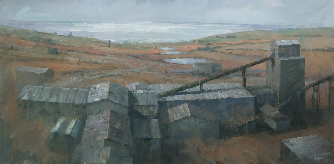 Geevor Tin Mine, a Cornish industrial landscape painting by artist Stephen Mitchell