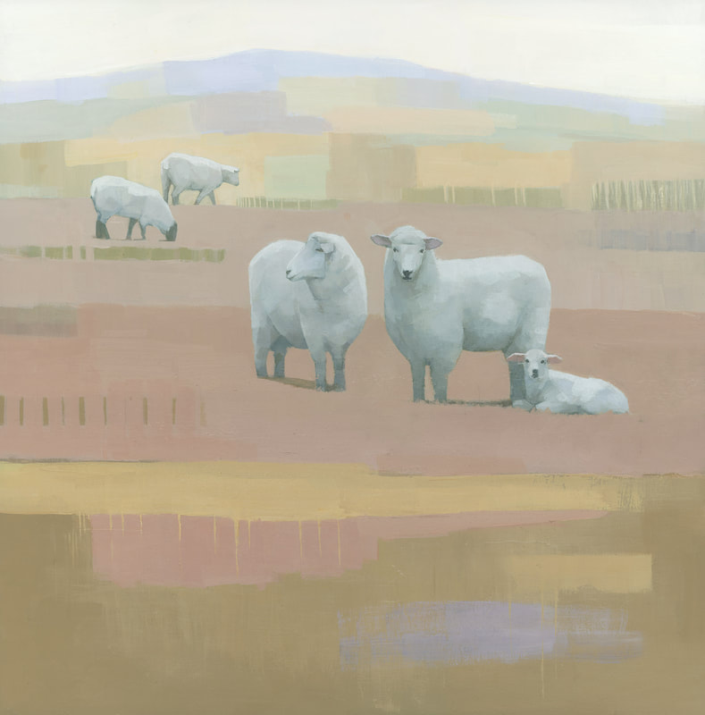 Sheep and lamb painting in a contemporary cubist style by artist Stephen Mitchell