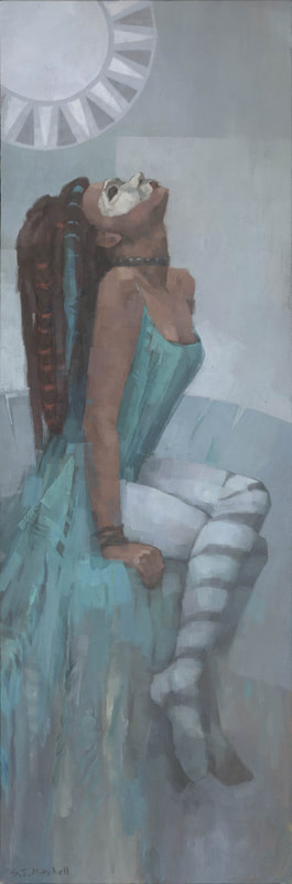 Contemporary black woman in costume painting by Stephen Mitchell in neutral muted turquoise and greys
