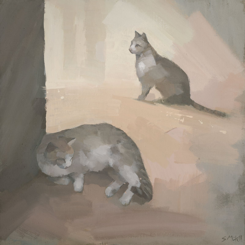 Contemporary painting of 2 cats by artist Stephen Mitchell, in warm colours