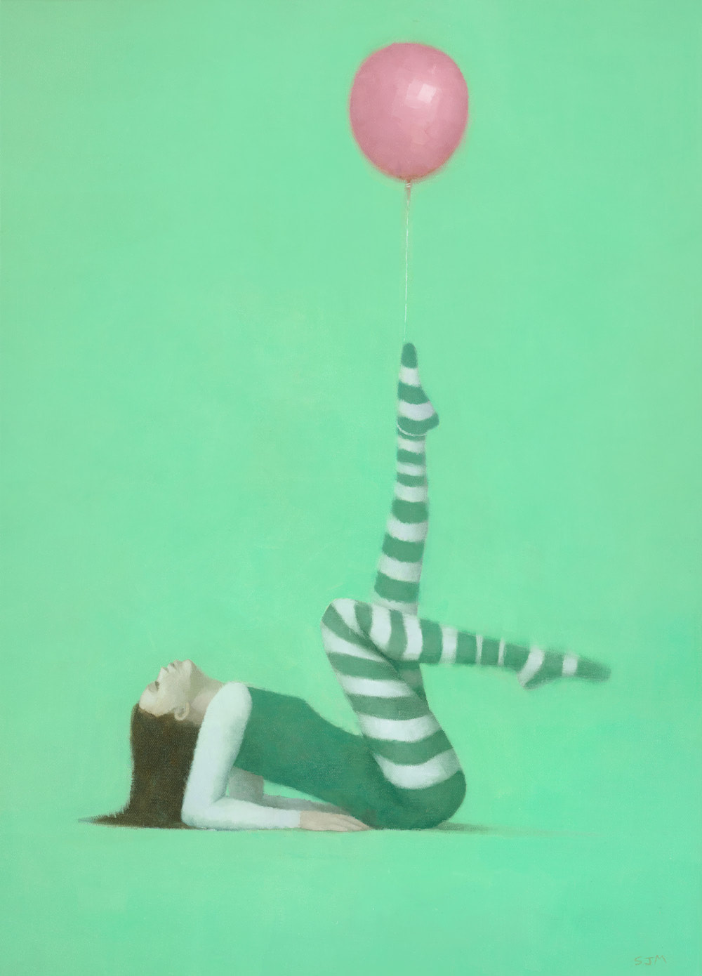 Female gymnast in green painting by Stephen Mitchell.