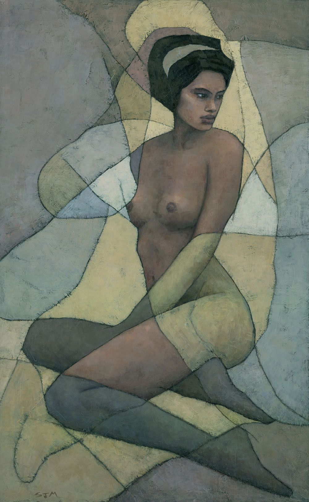 Contemporary art nouveau African woman female nude abstract figure painting by Stephen Mitchell