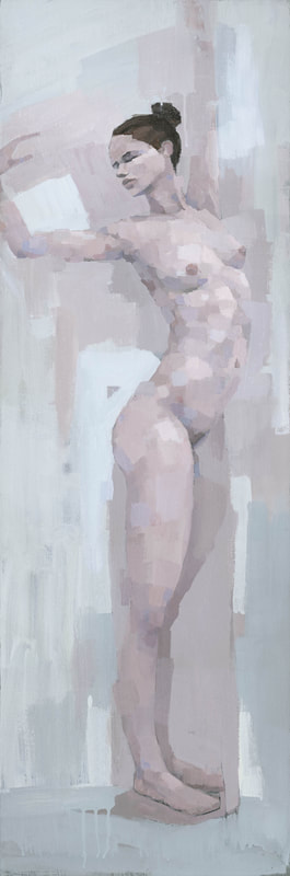 Contemporary stretching female nude figure painting by Stephen Mitchell