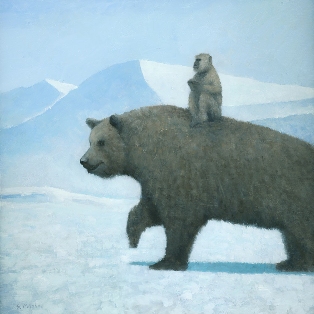 Symbolic surreal bear and monkey in a winter landscape painting by artist Stephen Mitchell