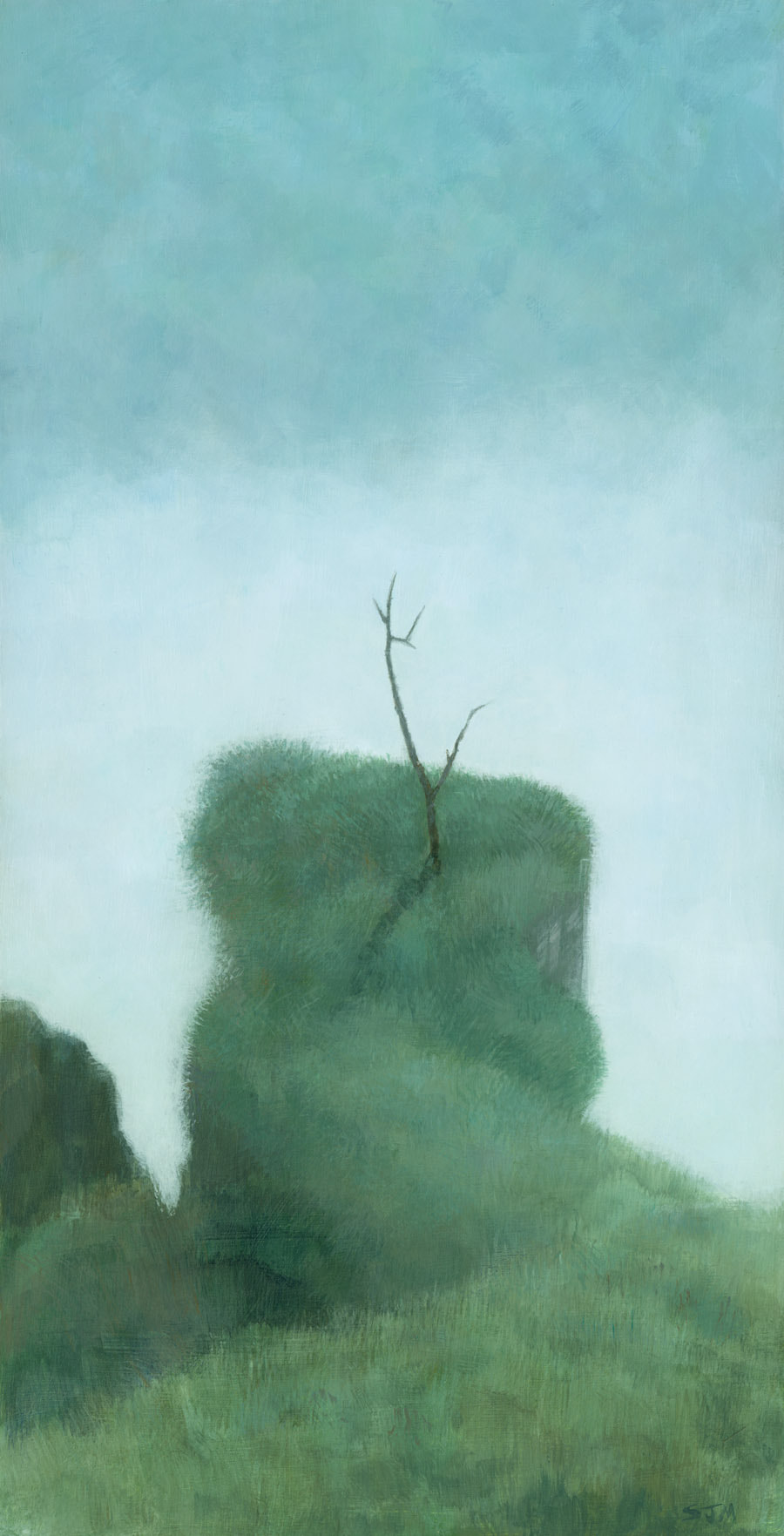 Tree at Iguazu, a muted landscape painting duck egg blue and green, by artist Stephen Mitchell