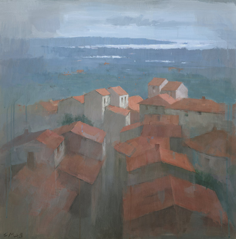 Vrsar Rooftops, Croatia, contemporary landscape townscape painting by Stephen Mitchell