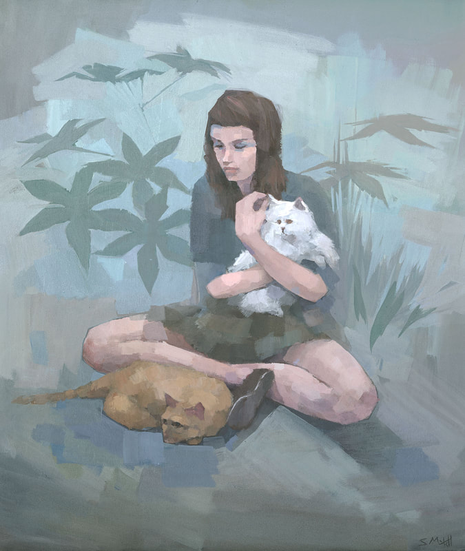 Contemporary female figure painting of young woman with cats, by Stephen Mitchell