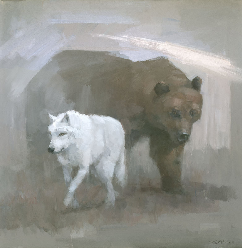 White wolf brown bear symbolic painting by artist Stephen Mitchell
